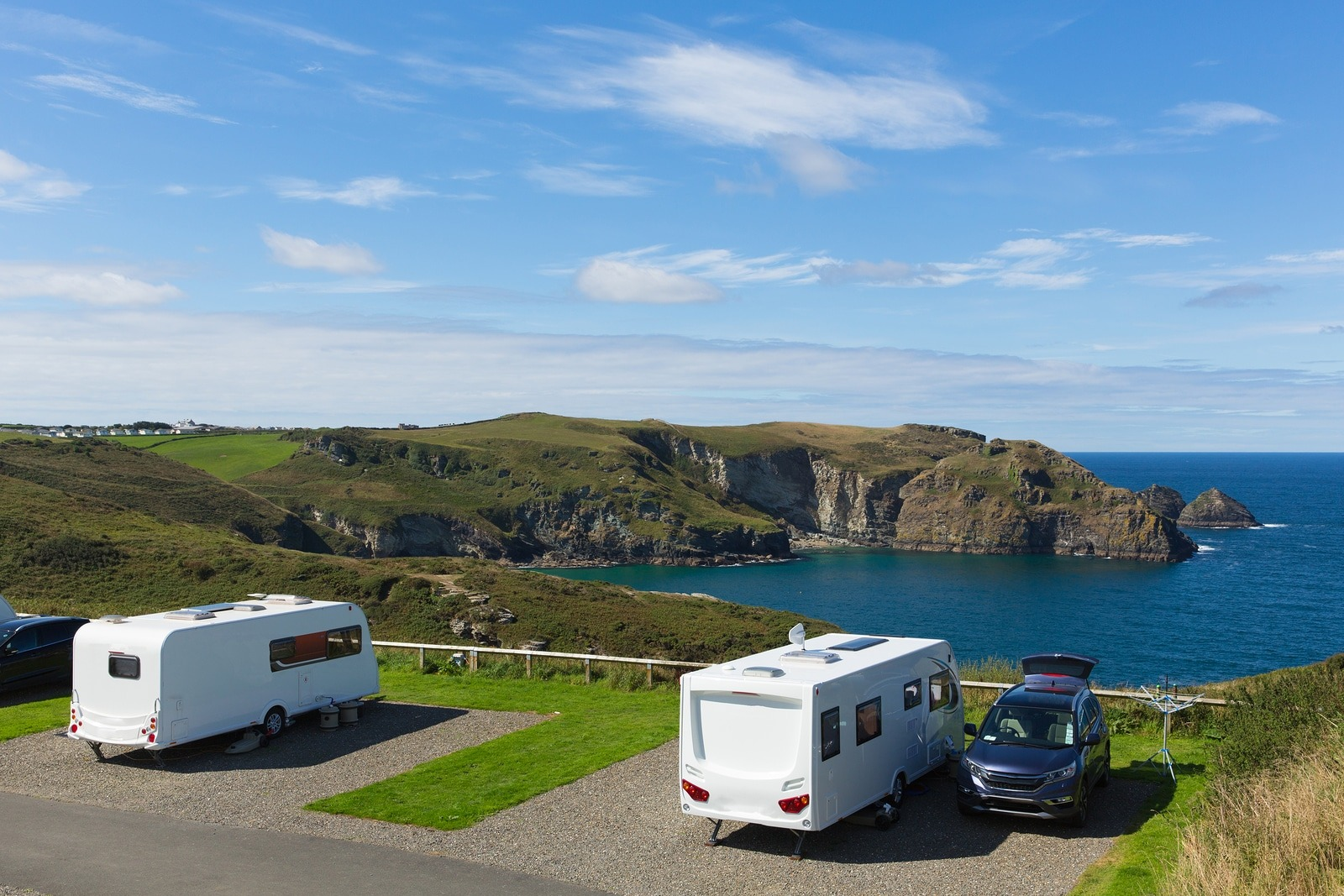 Caravans On A Pitch By A Beautiful Coast Scene